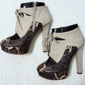 Mixed Media Lace Up Platform Bootie